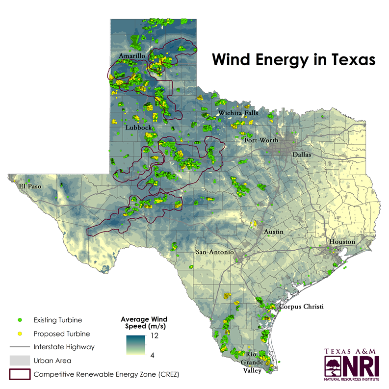 Wind Farms In Oklahoma Map.Map Of The Month Wind Energy In Texas Texas A M Nri