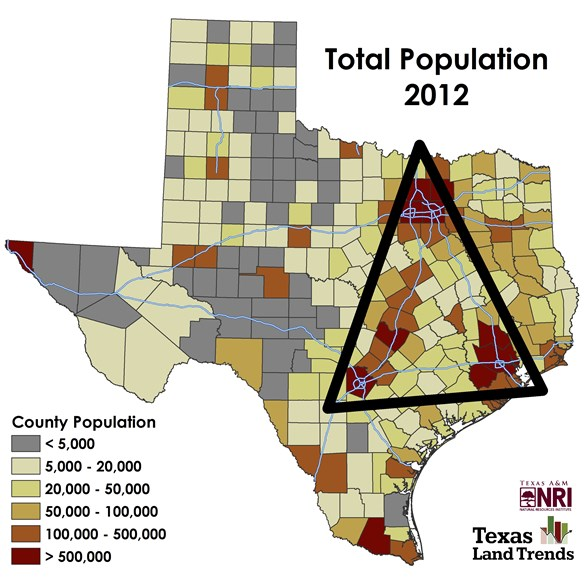 Population Map Of Texas.Map Of The Month Bright Lights And Big Cities Urban Growth In