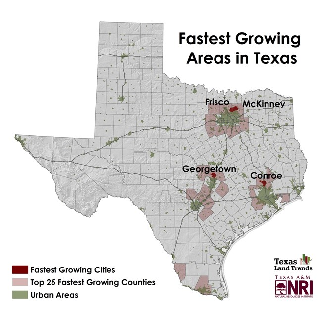 Map Of Texas Natural Resources.Map Of The Month Bright Lights And Big Cities Urban Growth In