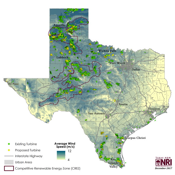 Map Of Texas Showing Austin.Map Of The Month Wind Energy In Texas Texas A M Nri